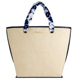 New Oscar de la renta straw bag blue handle